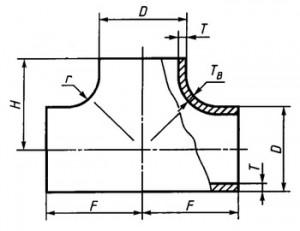 Тройник стальной чертеж